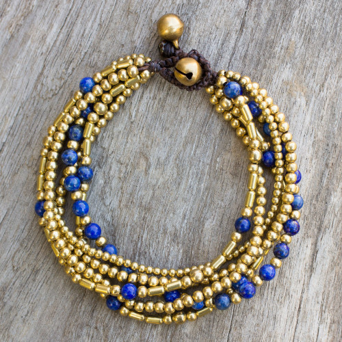 Lapis Lazuli Brass Beaded Bracelet Crafted by Hand 'Blue Freedom'