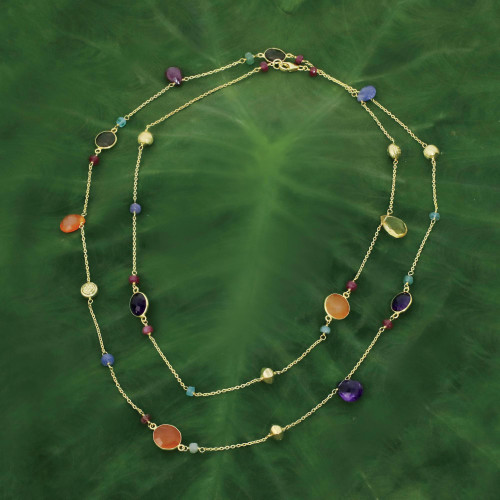 Multi Gemstones on Gold Plated Long Station Necklace 'Color and Fantasy'