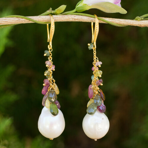 Multicolor Tourmaline and Pearls on Gold Plated Earrings 'Thai Vineyard'