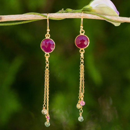 Thai Sapphire and Tourmaline Gold Plated Silver Earrings 'Pink Moonlight'