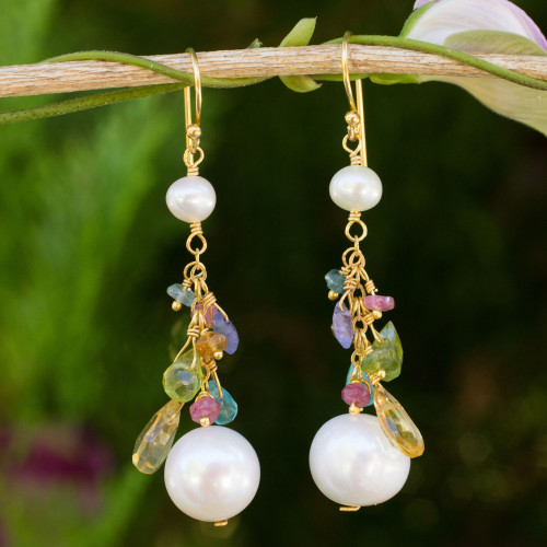 Pearls and Gemstones on 24k Gold Plated Hook Earrings 'Rainbow Waterfall'