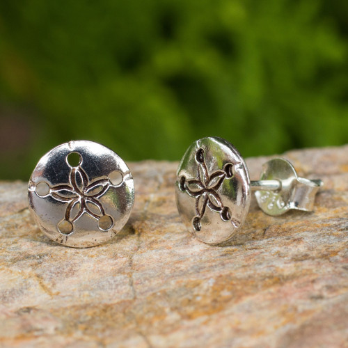 Hand Crafted Seashell Design Sterling Silver Button Earrings 'Sand Dollar'