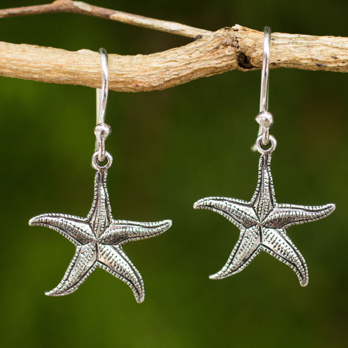 Artisan Crafted Sea Theme Silver Hook Earrings from Thailand 'Starfish'