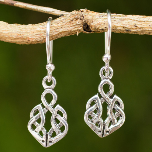 Hand Crafted Thai Celtic Oak Root Theme Silver Earrings 'Celtic Dara Knot'