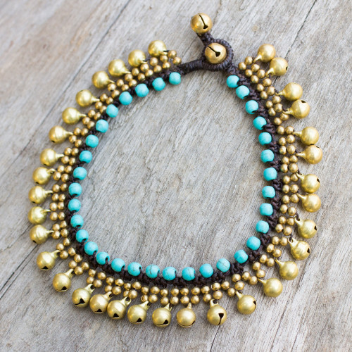 Brass Anklet with Blue Calcite and Jingling Bells 'Blue Bells'
