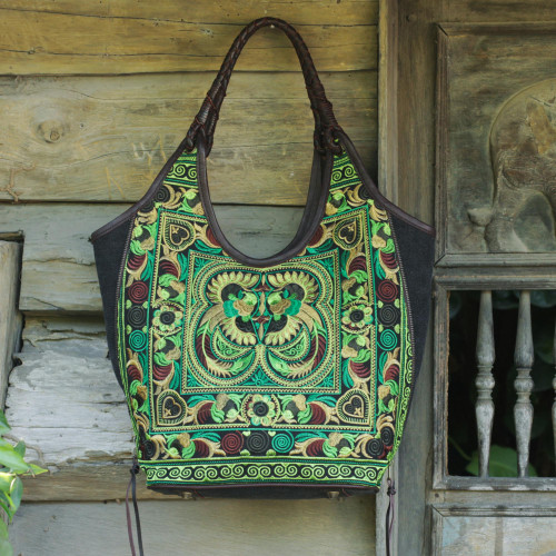 Thai Hill Tribe Embroidery on Leather Accent Shoulder Bag 'Jade Pheasants'