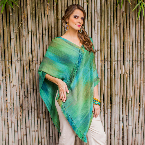 Backstrap Loom Rayon Chenille Poncho with Fringe 'Ethereal Turquoise'