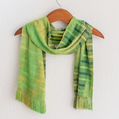 Backstrap Rayon Chenille Handmade Scarf in Shades of Green 'Evergreen'