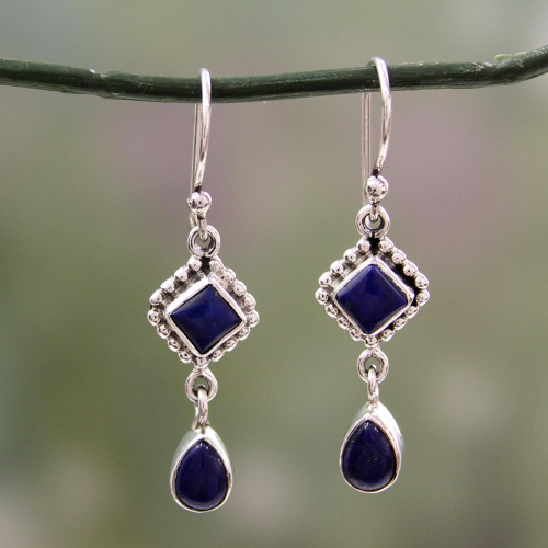 Lapis Lazuli and Sterling Silver Earrings Handmade in India 'Queen of Diamonds'