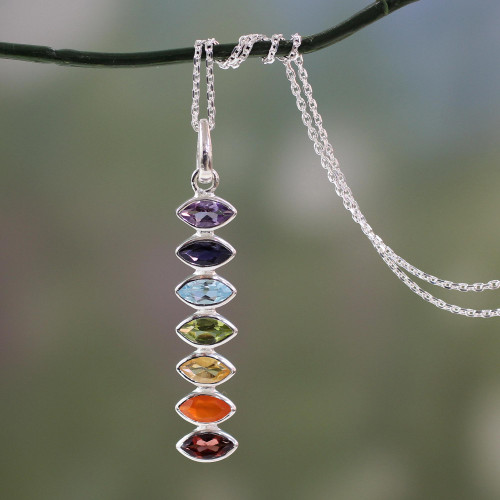 Indian Seven-Gemstone Chakra Necklace in 925 Sterling Silver 'Chakra Balance'