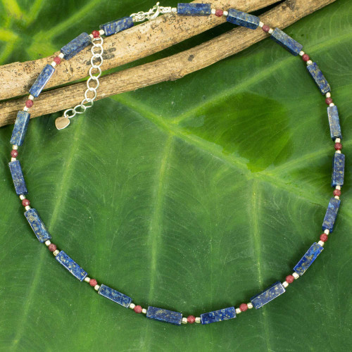 Lapis Lazuli Red Quartz and Sterling Silver Thai Necklace 'Navy Rose'