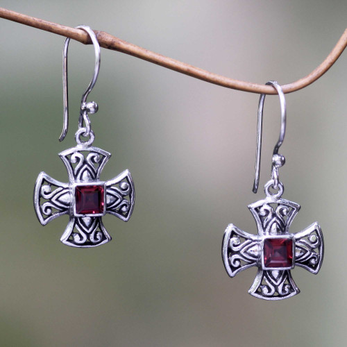 Handcrafted Balinese Silver Cross Earrings with Garnet 'Cross Pattee'