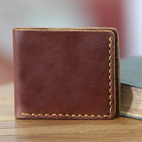 Dark Brown Leather Wallet for Men Crafted by Hand in Java 'Malioboro Brown'