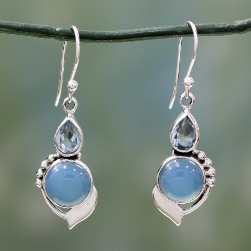 Sterling Silver Hook Earrings with Blue Topaz and Chalcedony 'Modern Romance'