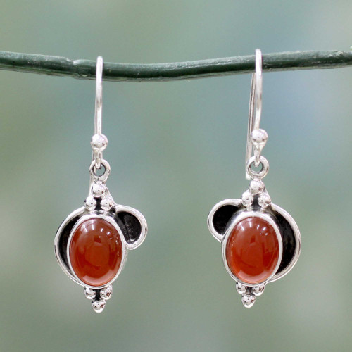 Sterling Silver and Carnelian Dangle Earrings from India 'Solar Charm'
