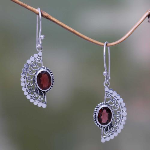 Handmade Sterling Silver Hook Earrings with Garnets 'Crimson Gaze'