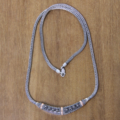 Handmade 18k Gold Accent Balinese Silver Chain Necklace 'Denpasar Night'