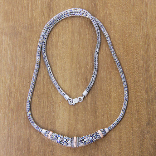 Bali Sterling Silver Chain Necklace with 18k Gold Accents 'Eternal Flame'