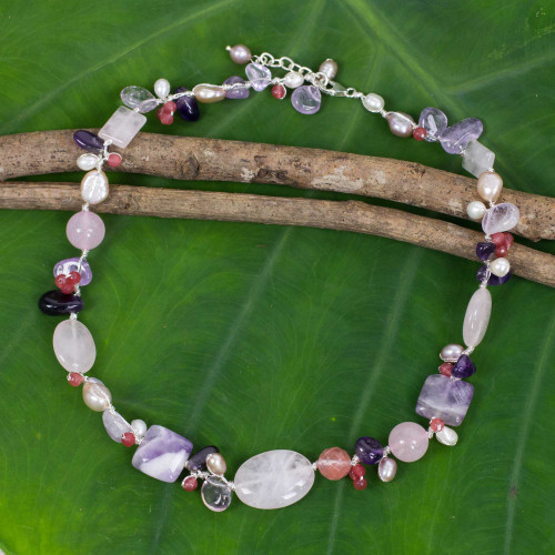 Hand Knotted Pearl and Multi-Gemstone Necklace 'Lilac Whisper'