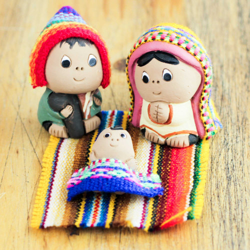 3-Pc Ceramic Nativity Scene with Woven Details from Peru 'Andean Holy Family'