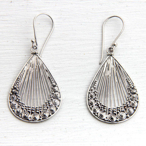 Lacy Handcrafted Sterling Silver Earrings from Bali 'Peacock Feather'