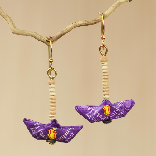 Sailboat Earrings Crafted by Hand with Recycled Paper 'Purple Boats'