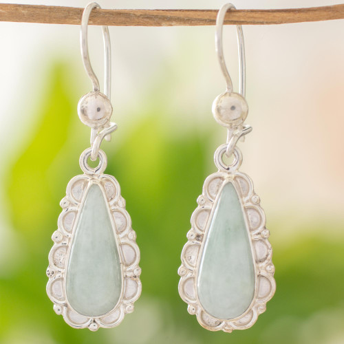 Guatemalan Hand Crafted Light Green Jade Dangle Earrings 'Blossoming Green Dew'