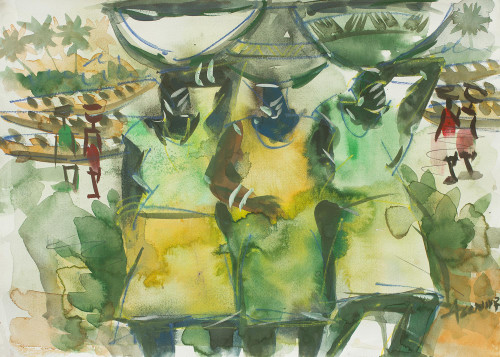 African Watercolor Painting in Shades of Green 'Busy Day I'