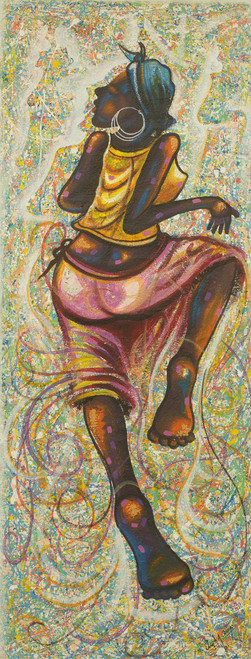 Painting of Woman Dancing Signed Fine Arts from Ghana 'Side to Side'