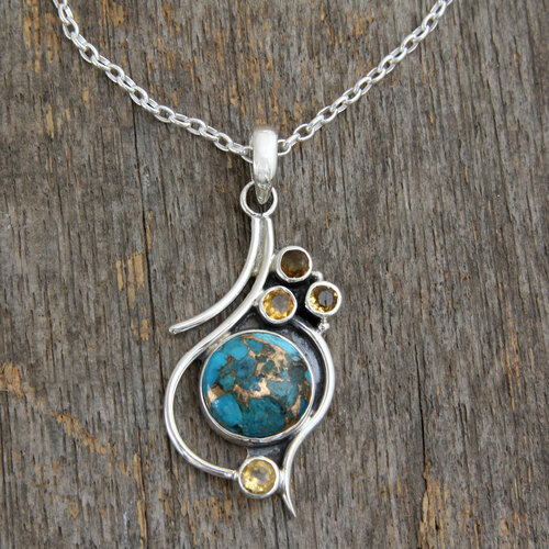 .925 Silver Necklace with Citrine and Composite Turquoise 'Golden Sky'