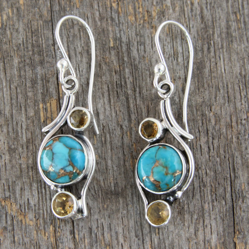 .925 Silver Earrings with Citrine and Composite Turquoise 'Golden Sky'