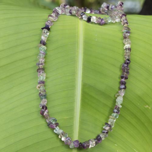 Artisan Crafted Brazilian Fluorite Beaded Necklace 'Nuanced Color'