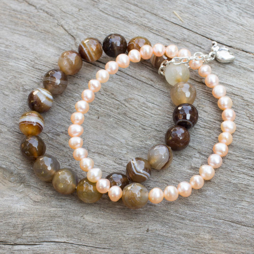 Pearl and Agate Bracelet with Silver Elephant Charm 'Iridescent Forest'