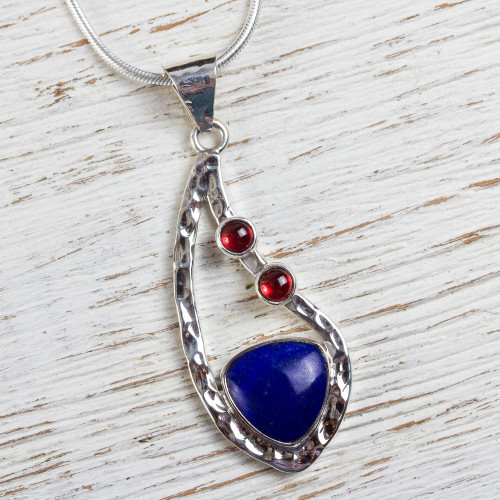 Sterling Silver Necklace with Lapis Lazuli and Garnet 'Serendipity'