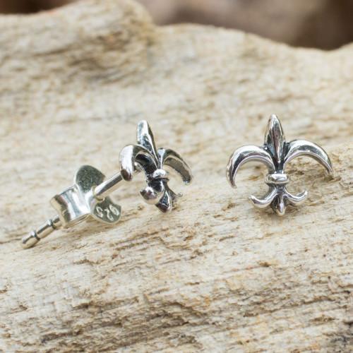 Thailand Fleur de Lis Sterling Silver Stud Earrings 'Fleur-de-lis'