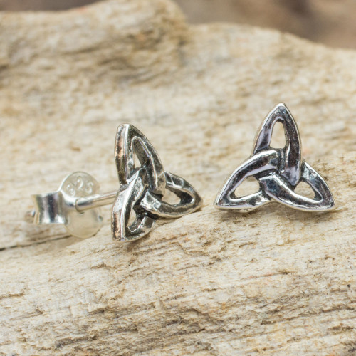 Handcrafted Celtic Trinity Knot Sterling Silver Earrings 'Celtic Trinity'