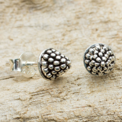 Fair Trade Silver Berry Theme Stud Earrings 'Shining Berry'