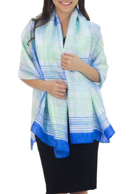 Blue and White Handcrafted Silk Blend Shawl with Green 'Cool Blue Plaid'