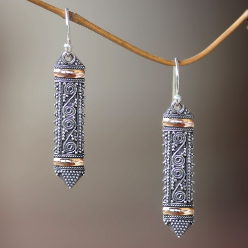 Ornate Indonesian Style Silver Earrings with Gold Accents 'Dayak Shield'