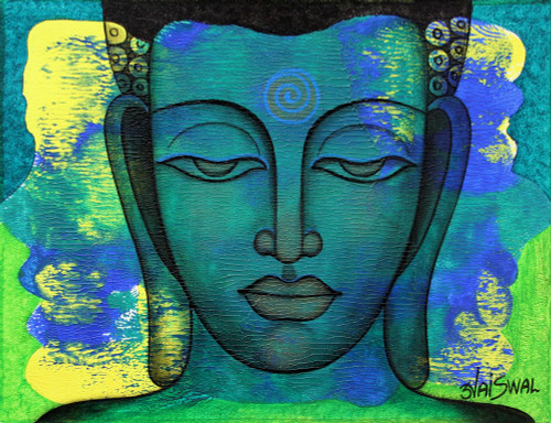 Expressionistic Signed Portrait of Buddha in Blue 'Peaceful Reign'