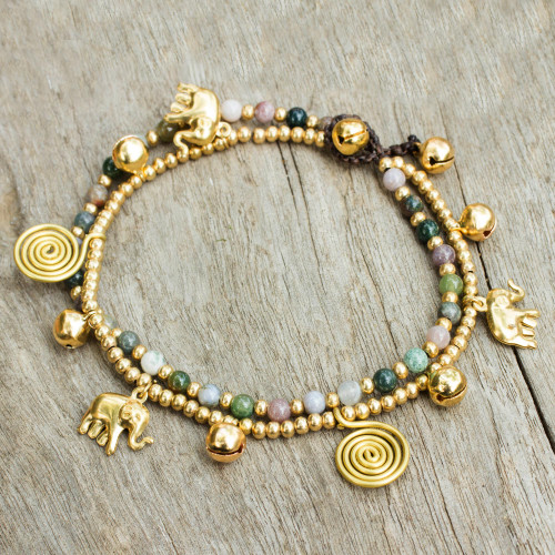 Colorful Thai Agate Bell Anklet with Brass Beads and Charms 'Elephant Bells'