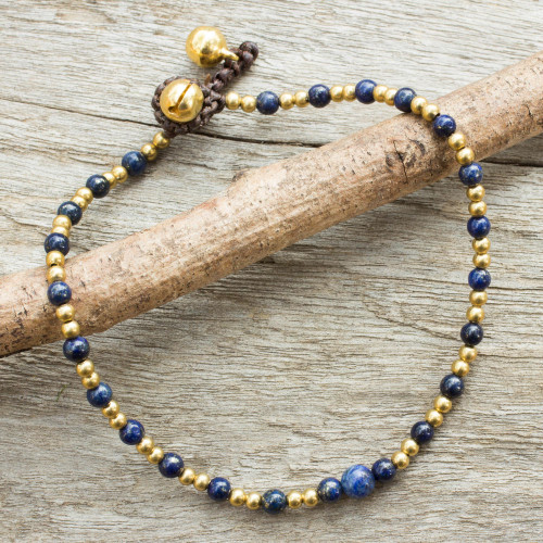 Single Strand Brass Bead Anklet with Lapis Lazuli 'Cheerful Walk'