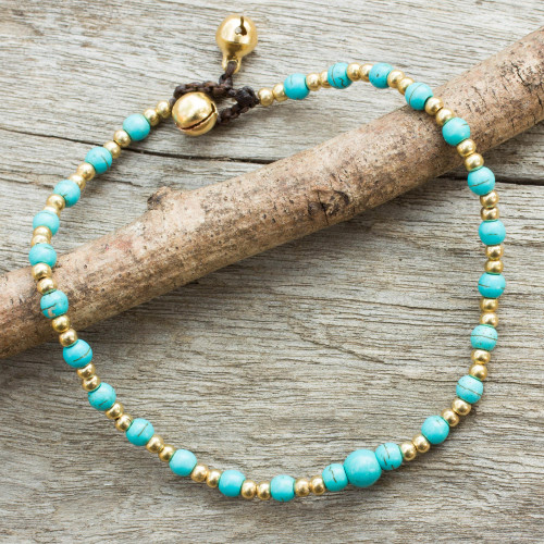 Blue Calcite and Brass Single Strand Anklet 'Cheerful Walk'