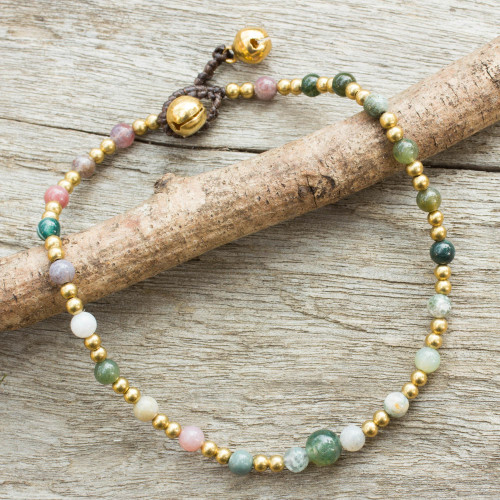 Colorful Agate and Brass Handcrafted Anklet 'Cheerful Walk'