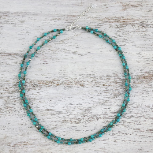 Thai Handcrafted Beaded Necklace with Silver Clasp 'Exotic Blue Allure'