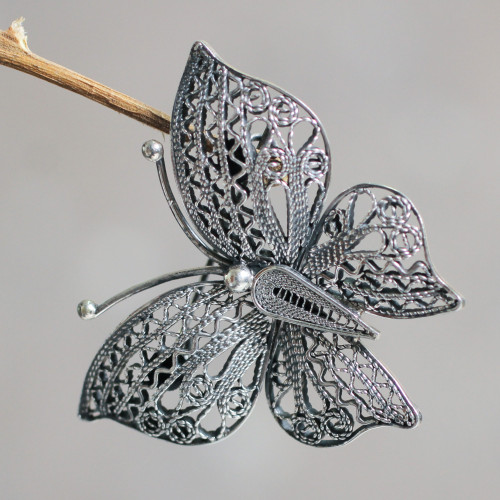 Filigree Butterfly Brooch Pin in Aged Sterling Silver 'Aged Catacos Butterfly'