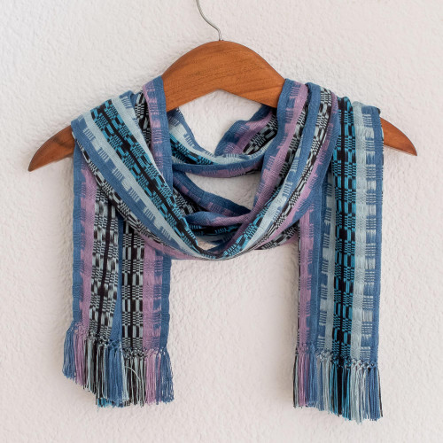 Guatemalan Rayon Chenille Scarf Hand Woven in Shades of Blue 'Blue Nights'