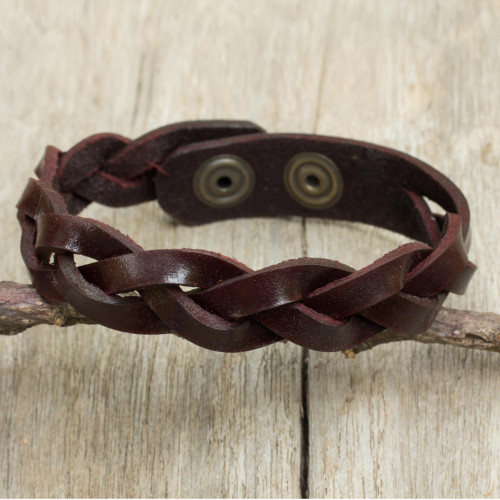 Artisan Crafted Braided Leather Wristband Bracelet for Men 'Cordovan Rope'
