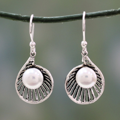 Artisan Crafted Pearl and Sterling Silver Earrings 'Oyster Treasure'