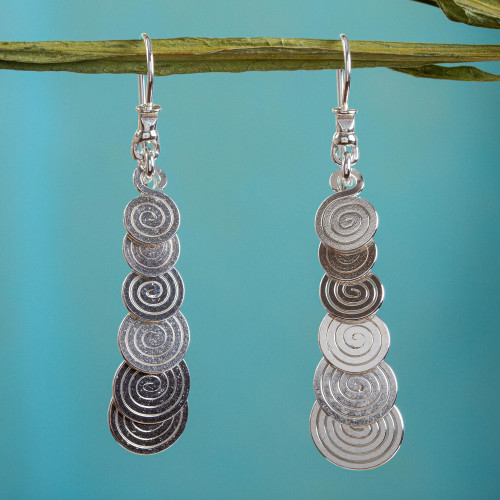 Long Silver Earrings Artisan Crafted Taxco Jewelry 'Moving On'